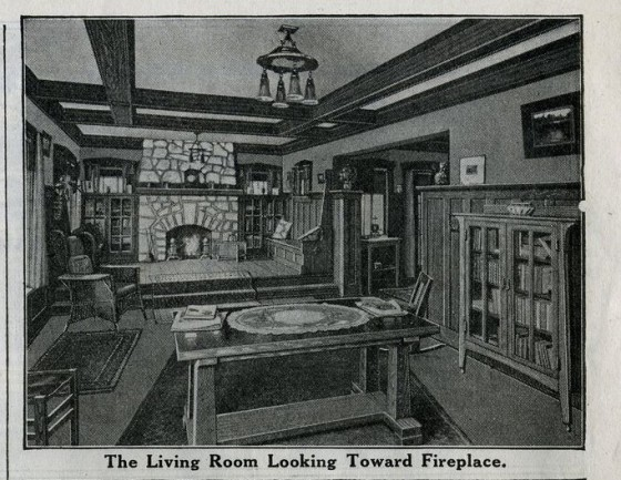 Sears Ashmore Living Room fireplace 1916