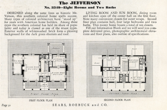 Sears Jefferson floor plan 1932