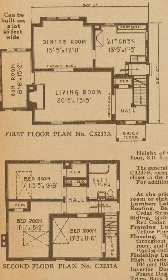 Oak Park floor plans C3237A 1928