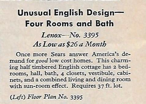 sears lenox 1933 details