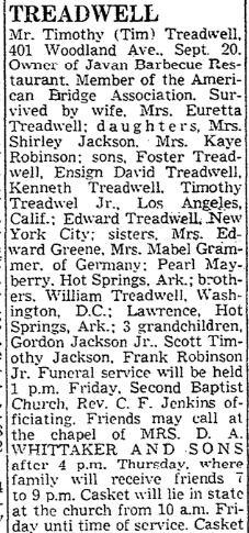 401 Woodland 22 Sept 1964 obit