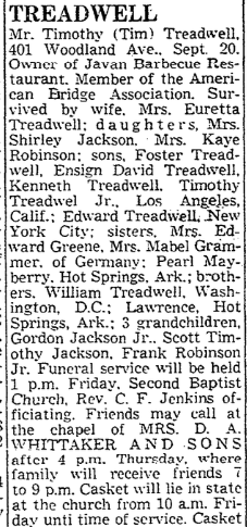 401 Woodland 22 Sept 1964 obit