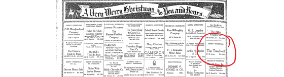 Tim Treadwell Merry Christmas 25 Dec 1938 highlighted