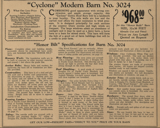 Cyclone barn No 3024 details