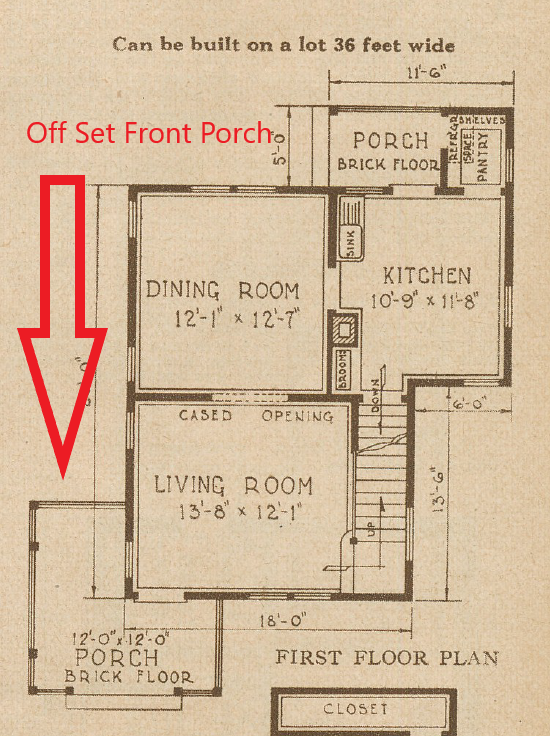 Hathaway first floor 1928 off set porch