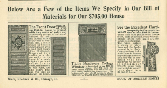 Materials for 705 dollar house - 1908