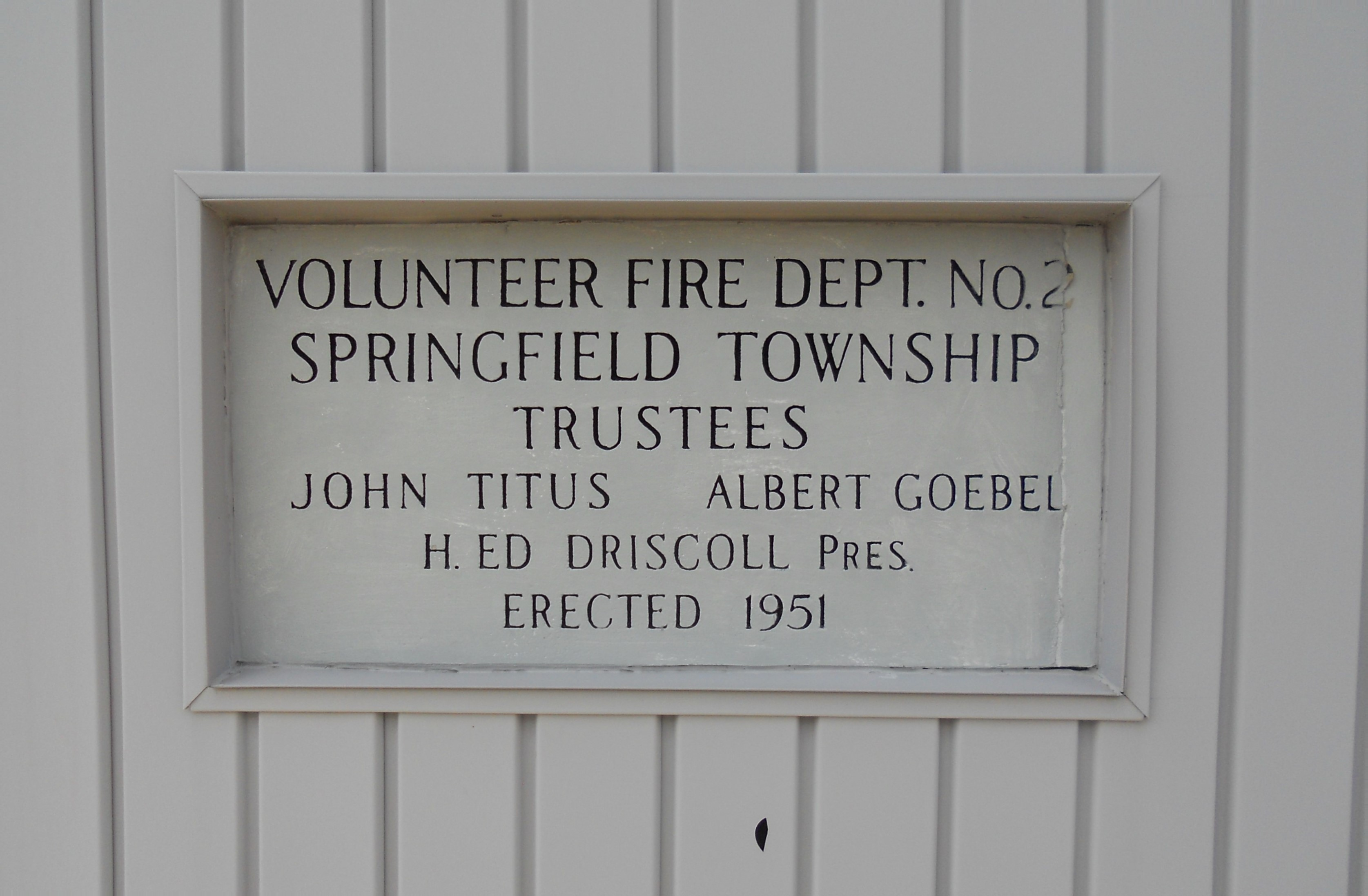 plaque on Spfld Twp storage building